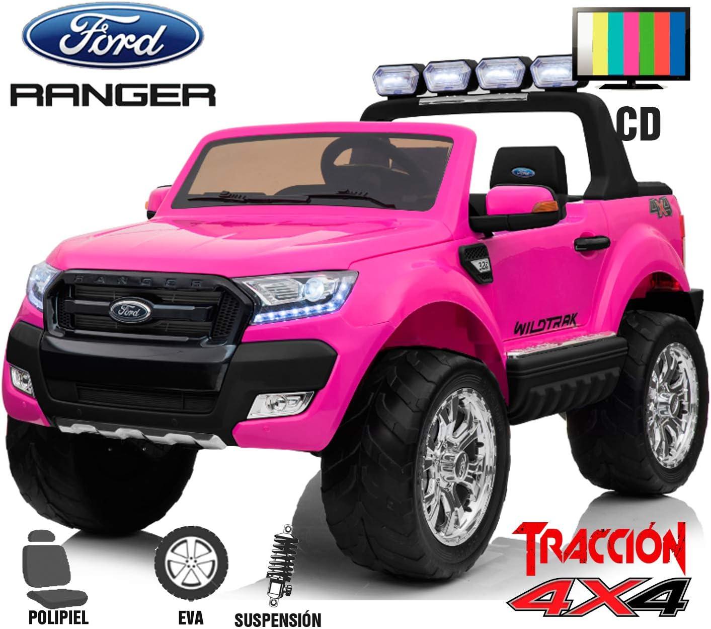 BC Babycoches-Coche electrico 12 V para niños Ford Ranger WILDTRACK 4X4, biplaza, Todoterreno, Motores 45w, Pantalla LCD, Ruedas EVA, Asiento Polipiel (Rosa)