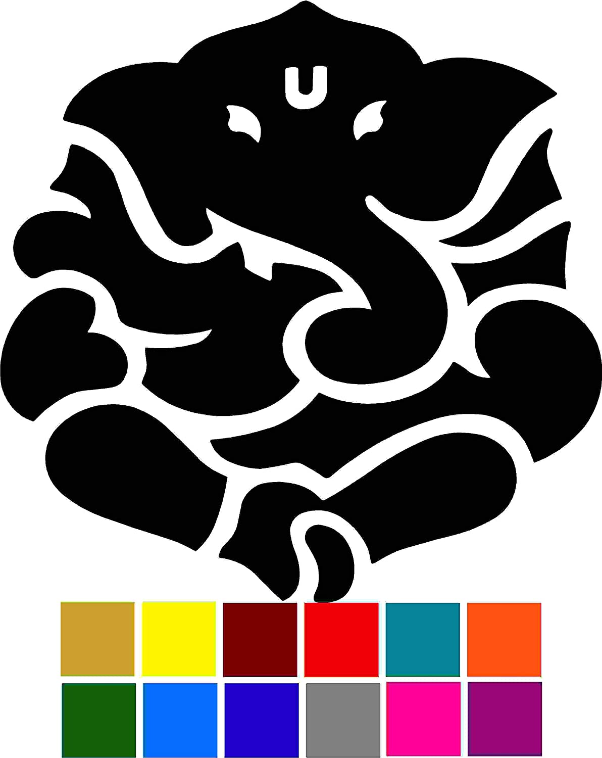 Ganesh Yoga Hindu Elephant Car Window Tumblers Wall Decal Sticker Vinyl Laptops Cellphones Phones Tablets Ipads Helmets Motorcycles Computer Towers V and T Gifts