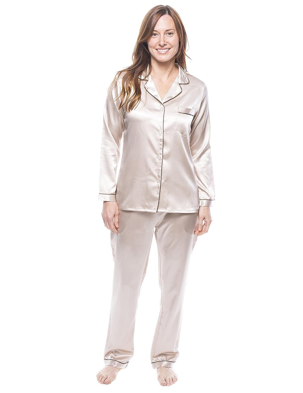 Champagne Noble Mount Twin Boat Women's Satin Pajama Sleepwear Set