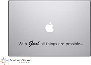 With God All Things Are Possible Text Bible Verse Vinyl Car Sticker Silhouette Keypad Track Pad Decal Laptop Skin Ipad Macbook Window Truck Motorcycle