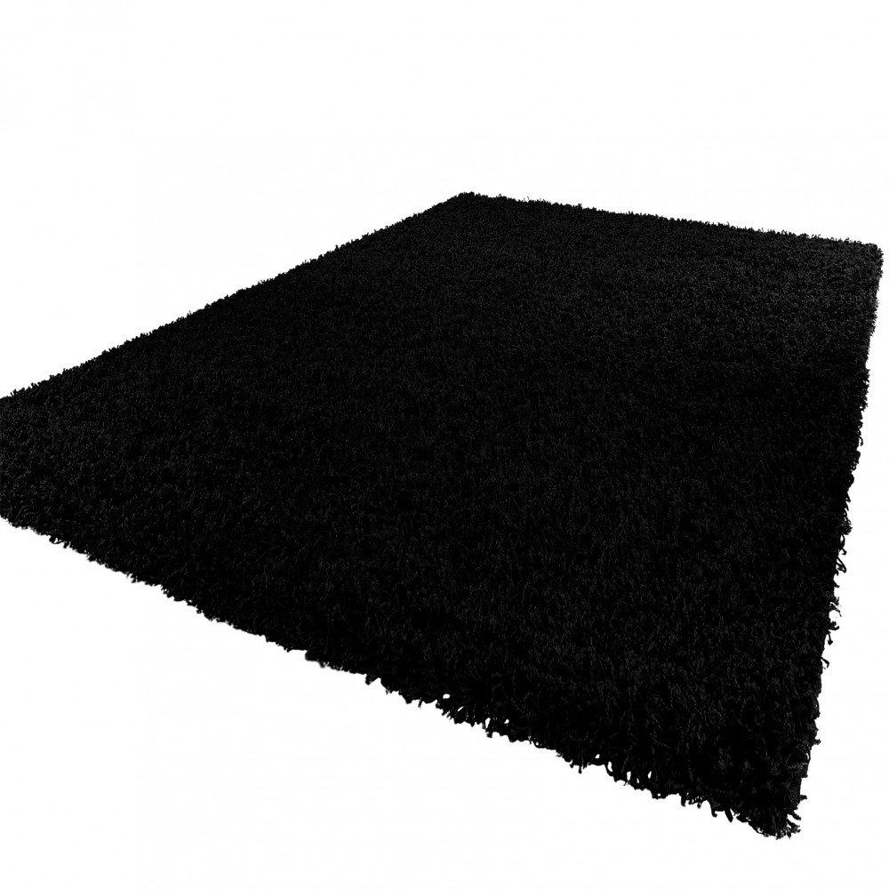PHC Shaggy Hochflor Langflor Teppich Sky Einfarbig in Schwarz, Grösse 230x320 cm