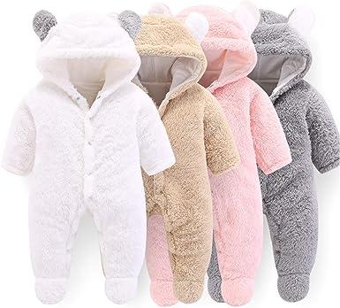 VNVNE Newborn Baby Cartoon Bear Snowsuit