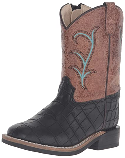 f58ec84f8 Old West Kids Boots Unisex Square Toe (Toddler) Black Croc Print Boot 4  Toddler