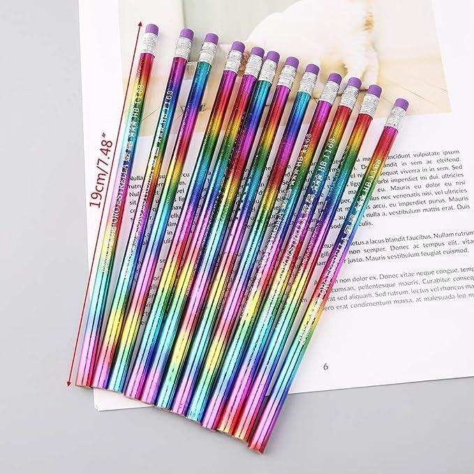 Qiuxiaoaa 12 Piezas Arco Iris L/ápiz Madera Protecci/ón del Medio Ambiente Color Brillante HB Dibujo Pintura L/ápices Oficina de la Escuela Escritura Pluma