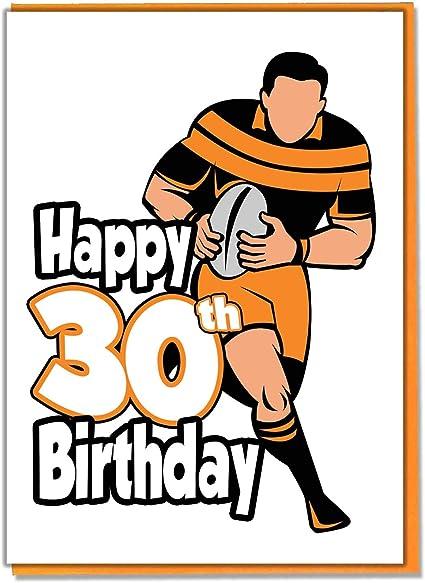 Carte D Anniversaire 30 Ans Silhouette De Rugby Homme Fils Grandson Ami Mari Brother Mate Amazon Fr Fournitures De Bureau