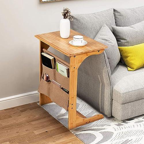 Tangkula Bamboo Sofa Side Table