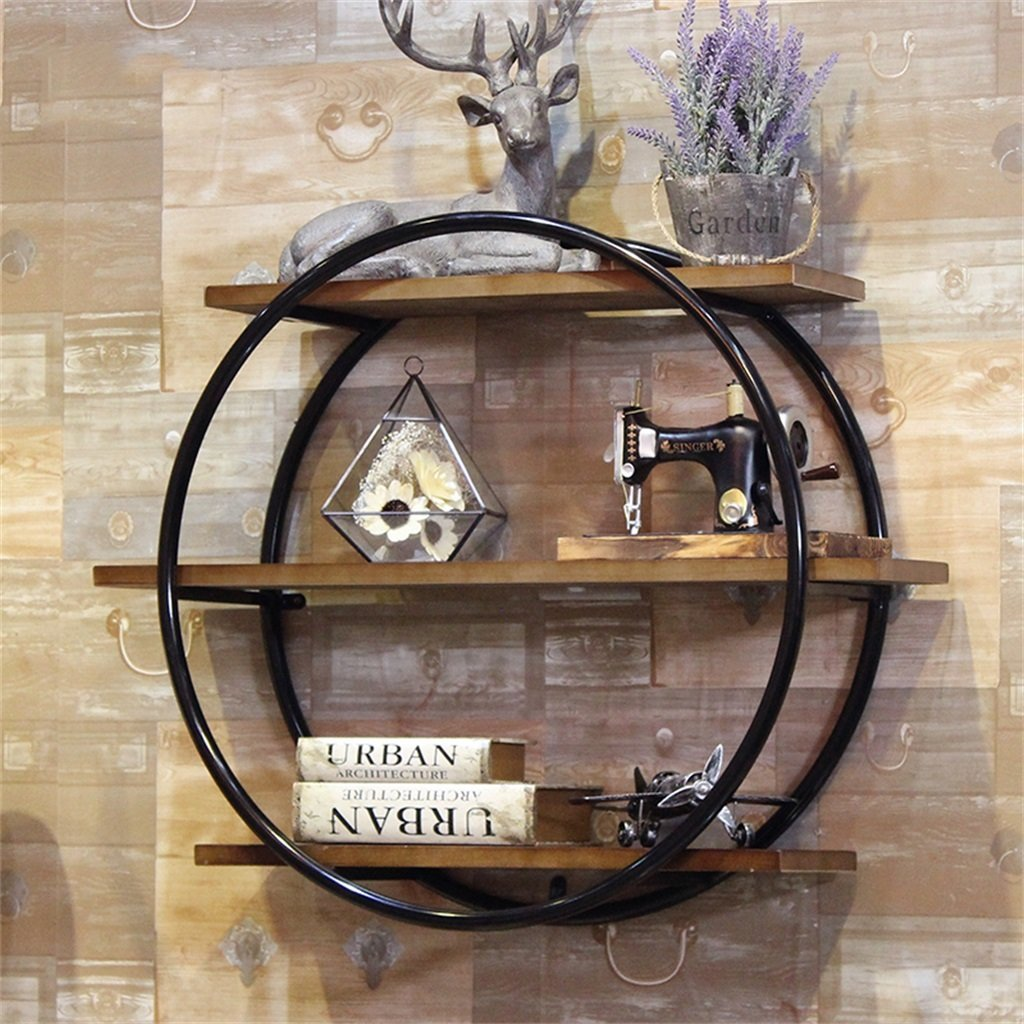 CRS-ZBBZ JIA JIA Home-Wandregal Holz Vintage Runde Wand-Regal Metall Eisen und Holz für Bar Wohnzimmer | LOFT Wandbehang Cube Regal(Durchmesser 80cm) (Farbe : Schwarz)