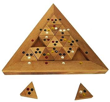 56 Spielsteine aus Holz mit farbigen Punkten Tridomino Triomino Dreieck Domino