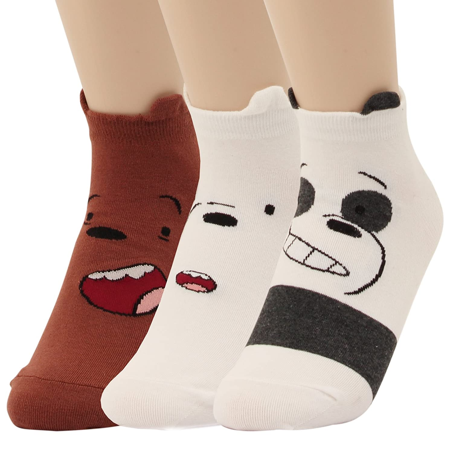 We Bare Bears Cartoon Series Cute Design Low Cut Cotton Socks For Women (Model No.1-3pairs) at Amazon Womens Clothing store: