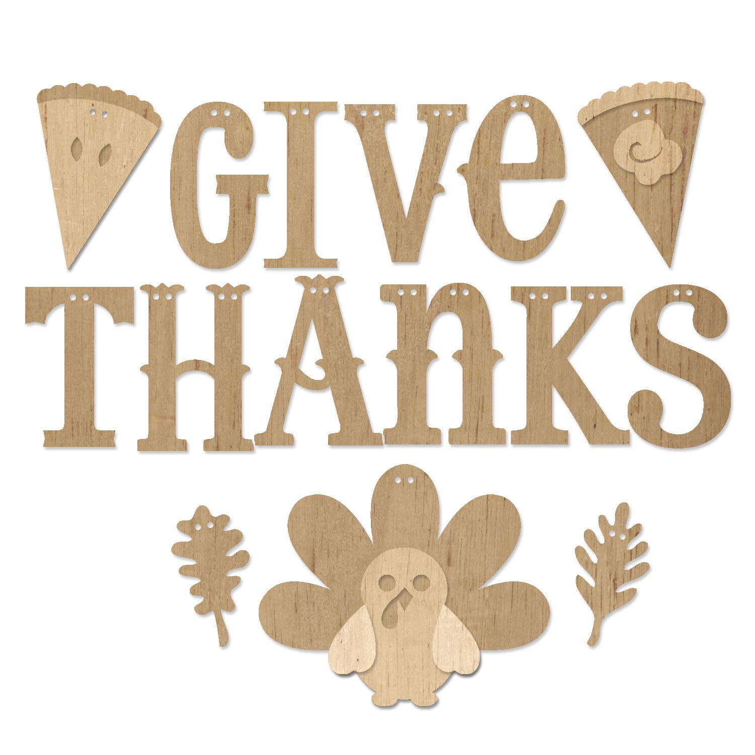 ADORNit DIY Wood Swag Banner Hanger - Give Thanks