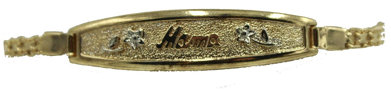Mama Id Tag Bracelet Diamantados of Florida Mama 18k Gold Plated 7.5 Inch Bracelet