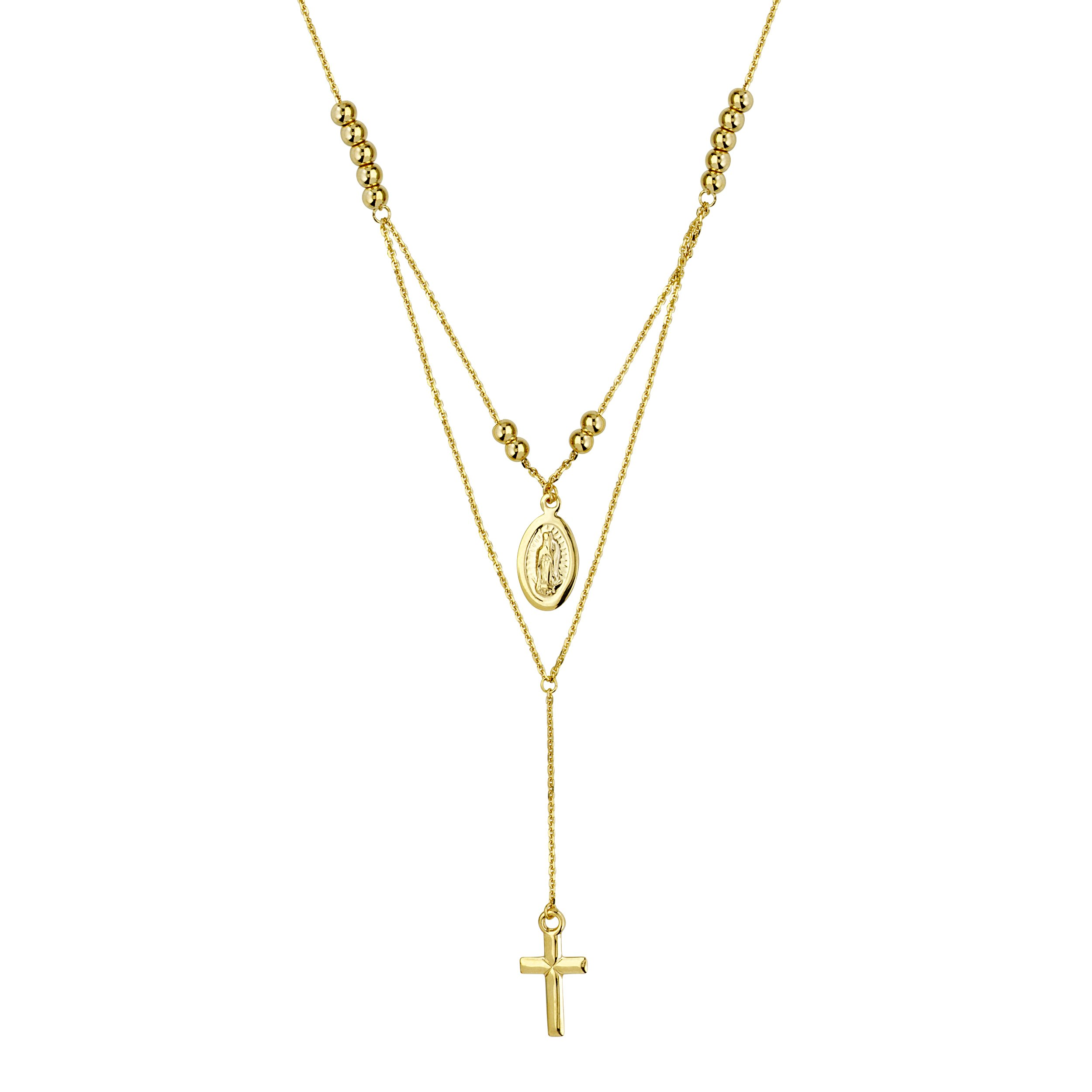 14k Gold Y-style Necklace with Beads, Virgin Mary Medallion and Cross Drop