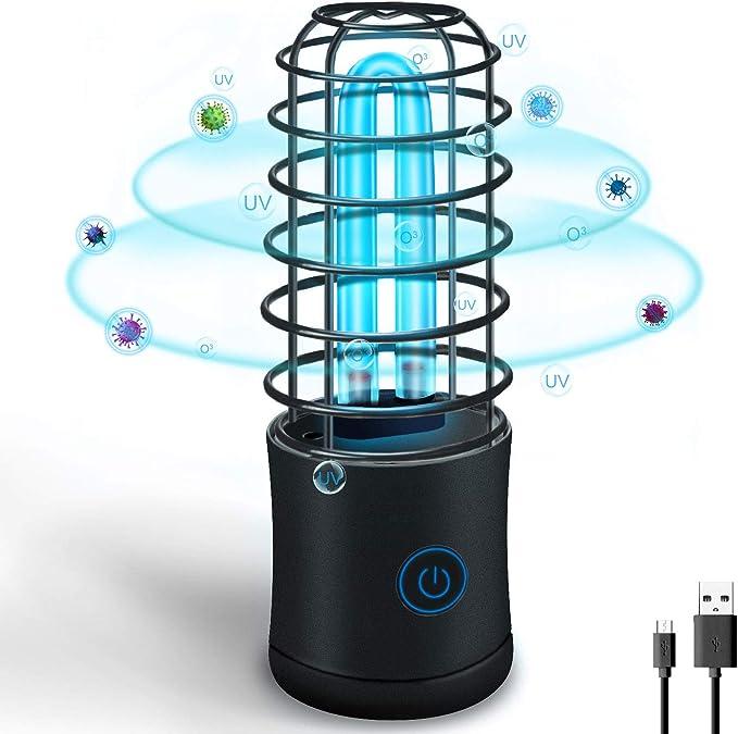 Lámpara Desinfección UVC Luz de Esterilización Germicida Ultravioleta Portátil 254nm Lámpara Recargable USB Antibacteriano (Negro, Estilo Cilíndrico)