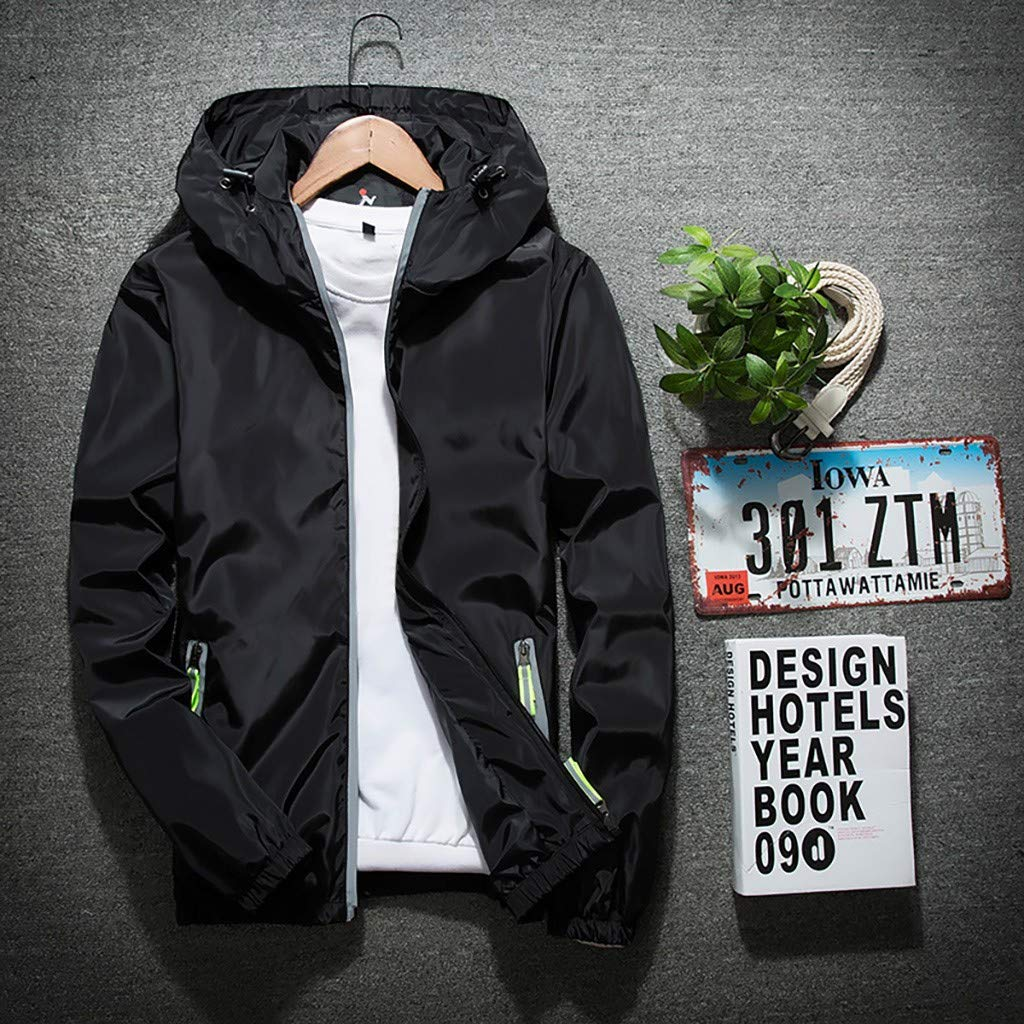 Hmlai Clearance Mens Casual Hooded Jacket Slim Fit Reflective Lightweight Waterproof Softshell Front Zip Outerwear Coat