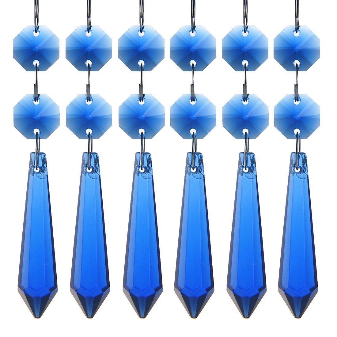 H&D 55mm Crystal Icicle Prisms Chandelier Drop Pendants Lamp Candelabra Parts, Pack of 10 (Cobalt Blue)