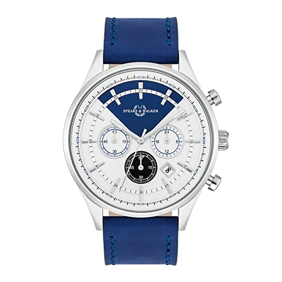 Empire & Walker Power Racer – Reloj de hombre cronógrafo acero inoxidable plata/blanco azul