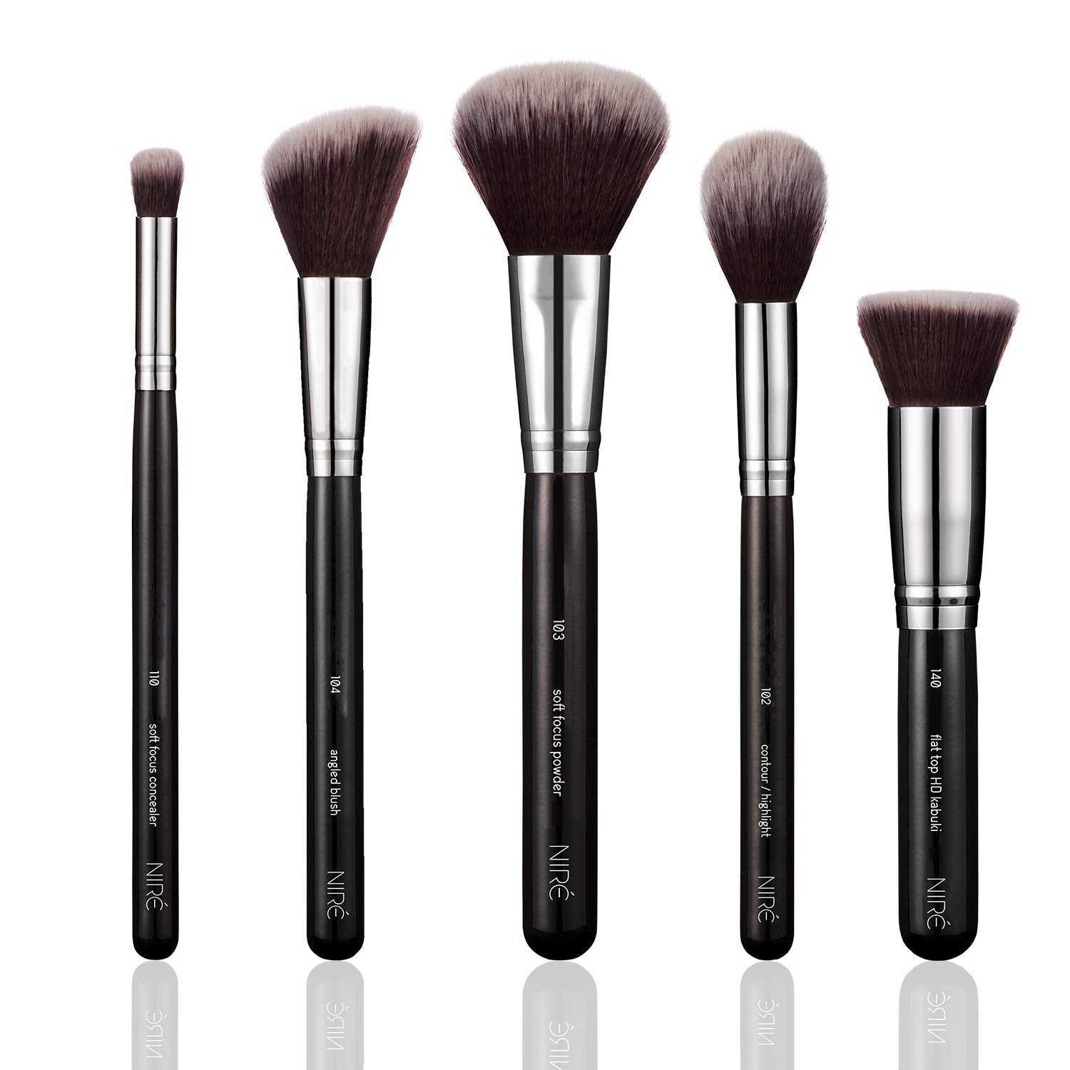 Niré Beauty Kabuki Brush for Foundation: Flat Top HD Kabuki Brush for Liquid, Cream and Mineral Foundations *** BONUS Mini Beauty Blender for a Full Coverage of the Under-Eye Area Luxe England