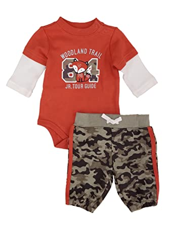 218dafce4 Amazon.com  Infant Boys Fox Baby Outfit Camo Pants   Orange Woodland ...