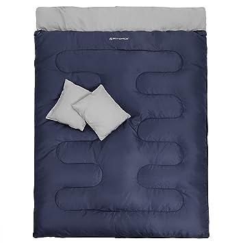 SONGMICS Saco de Dormir Doble con 2 Almohadaspara 2 Adultos Divisible en 2 Sacos Individuales Relleno