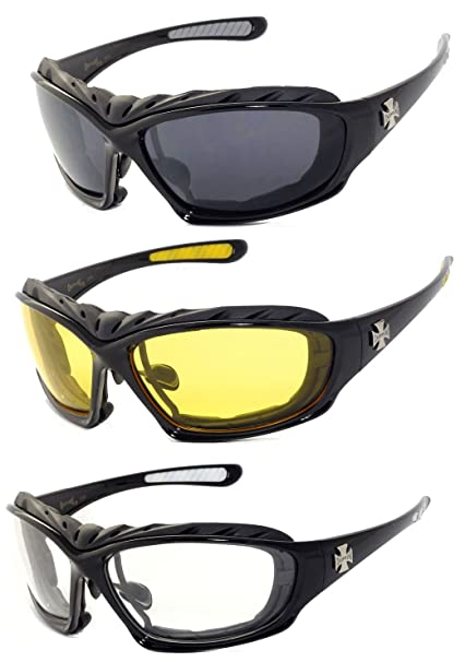 a18342ec9e2 Amazon.com  3 Pairs Choppers Motorcycle Padded Foam Wind Resistant Riding  Glasses Sunglasses  Clothing