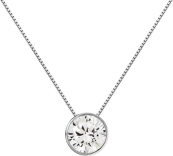 1 Carat 14k Solid White Gold Round BEZEL set Solitaire Pendant Necklace Chain