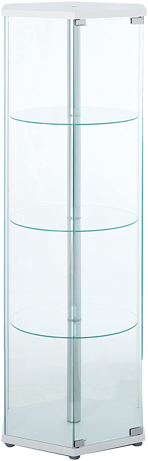 4-shelf Hexagon Shaped Curio Cabinet White and Clear Coaster 950001
