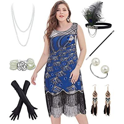 20's Vintage Peacock Sequin Plus Flapper Dress w/ 20s Gatsby Accessories Set (XL, Blue) at Amazon Women's Clothing store