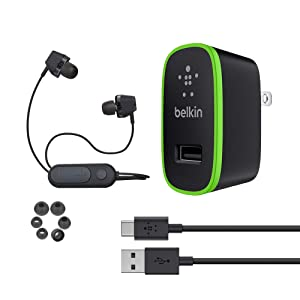 Belkin Universal Wall Charger 6FT USB-C Cable USB Type C 10W Bundle, Fast Charge Charger with iFROGZ Bluetooth Earbud Headphones XD2