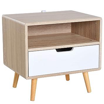 Homcom Chevet Table De Nuit Design Scandinave Tiroir Niche