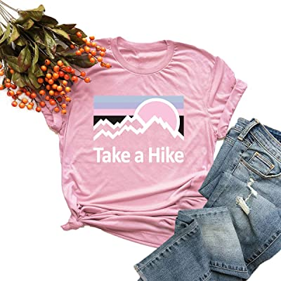 Women Short Sleeve T Shirts Cute Graphic Short Sleeves O-Neck Vacation Camping Blouse Funny Letter Print Hiker Tees Tops: Clothing