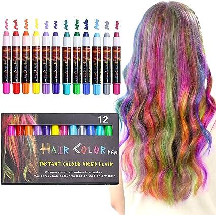 XIMU Pastel de pelo, 12 colores tizas de pelo, Juego de tiza apto para niños a partir de 3 años, festivales, juegos de rol, fiestas temáticas, pintura ...