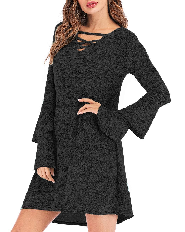 Eanklosco Women\'s Sweater Dress Flare Long Sleeve Knit Jumper Tops Criss Cross V Neck Loose Swing Tunic Dress (Black, XL)