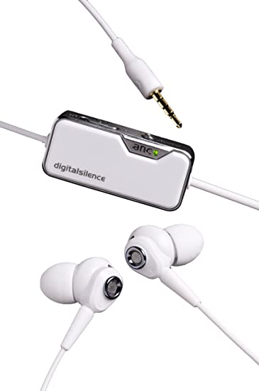 4ca226c4331 Amazon.com: Digital Silence DS-321D Stereo Digital Ambient Noise Cancelling  Earphones with Microphone - White: Cell Phones & Accessories