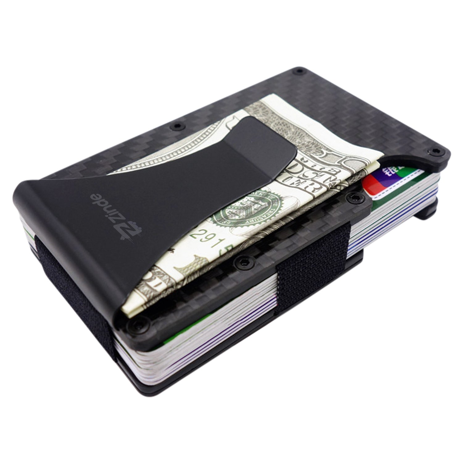 Minimalist Carbon Fiber Wallet by Zinde - Slim RFID Blocking Wallet and Money Clip is Lightweight and fits Nicely in Pockets - securely Holds ID and Credit Cards - with Bonus Keychain