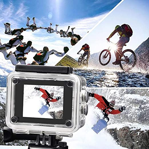 Gray D-XinXin Waterproof HD 1080P Sport Action Camera Underwater DV Video Camcorder with Waterproof Case,Camera Holder,Battery,USB Cable