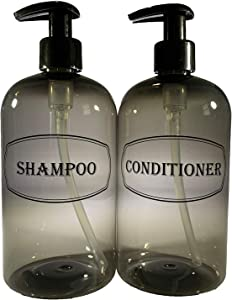 Bottiful Home-16 oz Gray Shampoo and Conditioner Shower Soap Dispensers-2 Refillable Empty PET Plastic Pump Bottle Shower Containers-Printed Design-Waterproof, Rust-Free, Clog-Free, Drip-Free