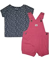 Carter's Baby Girls 2-Piece Floral Top & Shortalls Set, Pink, 12 Months