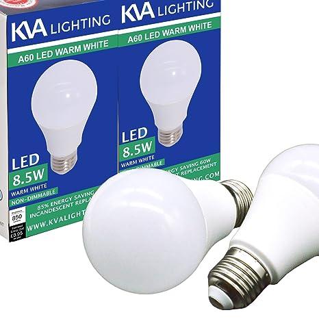 KVA LIGHTING - Bombilla LED E27 A60 A19, brillante 850 lúmenes, 8,5