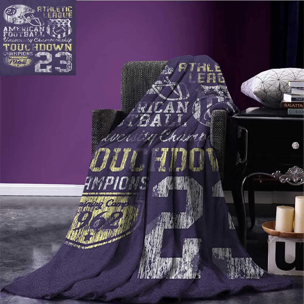 Sports emergency blanket Retro Style American Football College Theme Illustration Athletic Championship Apparel Print Purple size:60''x80''