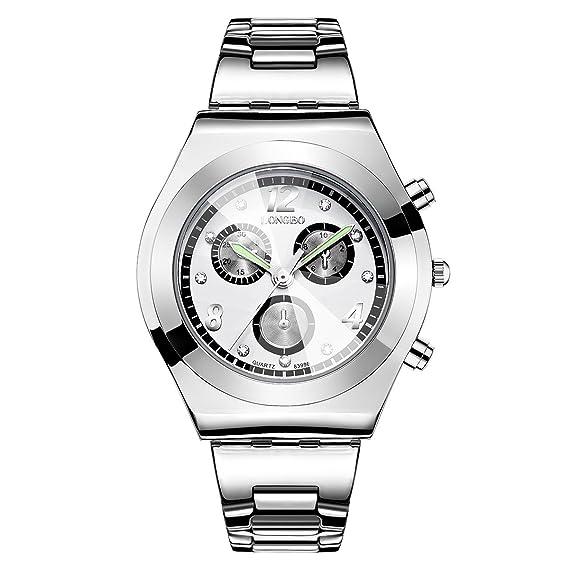 Longbo MUJER más vendido pulsera analógico vestido cuarzo reloj banda de acero inoxidable Ladies Business Watchs luminoso manos decorativo Chrono ojos ...