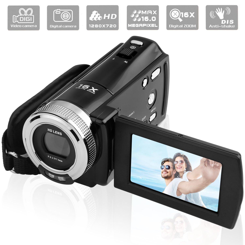 GordVE-KINGEAR Mini DV C8 16MP High Definition Digital Video Camcorder DVR 2.7'' TFT LCD 16x Zoom Hd Video Recorder Camera 1280 x 720p Digital Video Camcorder(Black)