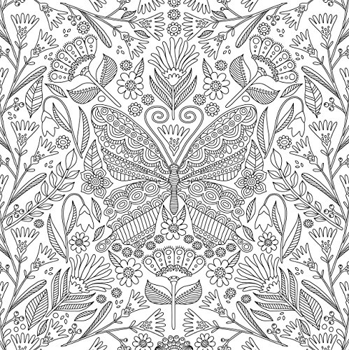 Blooms, Birds, and Butterflies Adult Coloring Book (31 stress ...