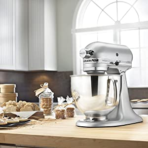 KitchenAid RRK150SM 5 QUART ARTISAN SERIES TILT HEAD STAND - SILVER METALLIC (Certified Refurbished)