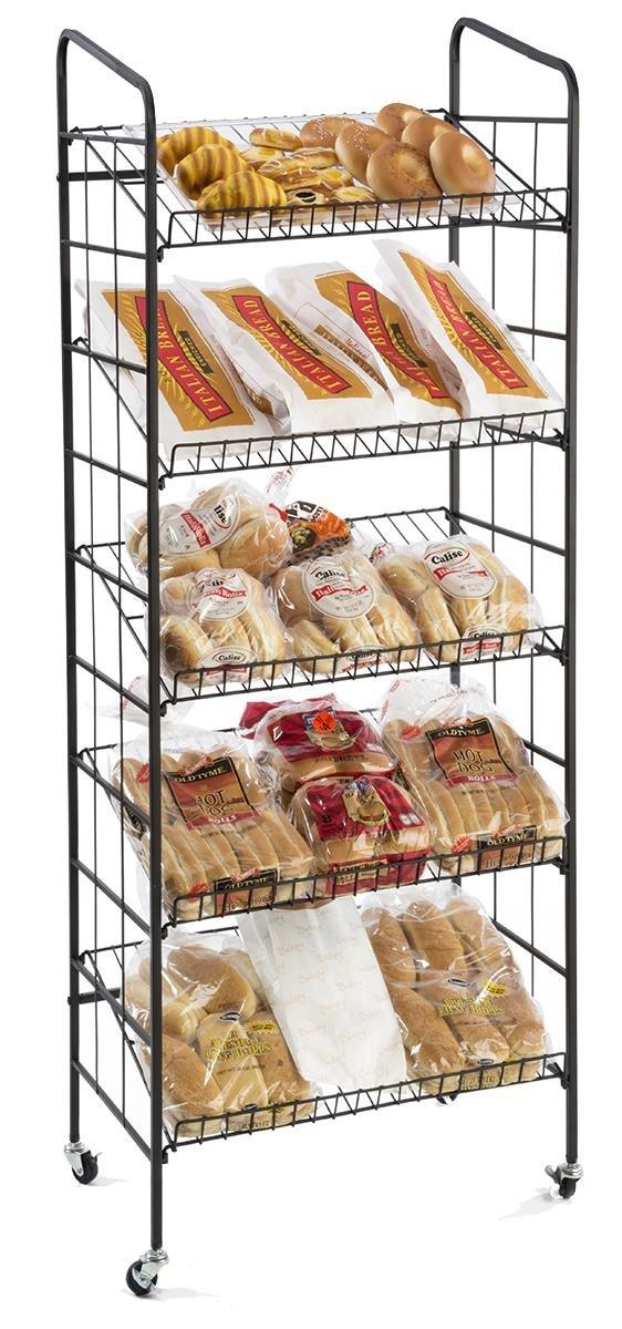 Displays2go BR5GSH24BK Rolling Baker's Display Rack with 5 Angled Shelves