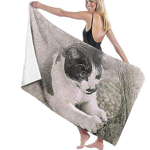 Cute Cat Toalla de microfibra en blanco y negro, Toallas de ...