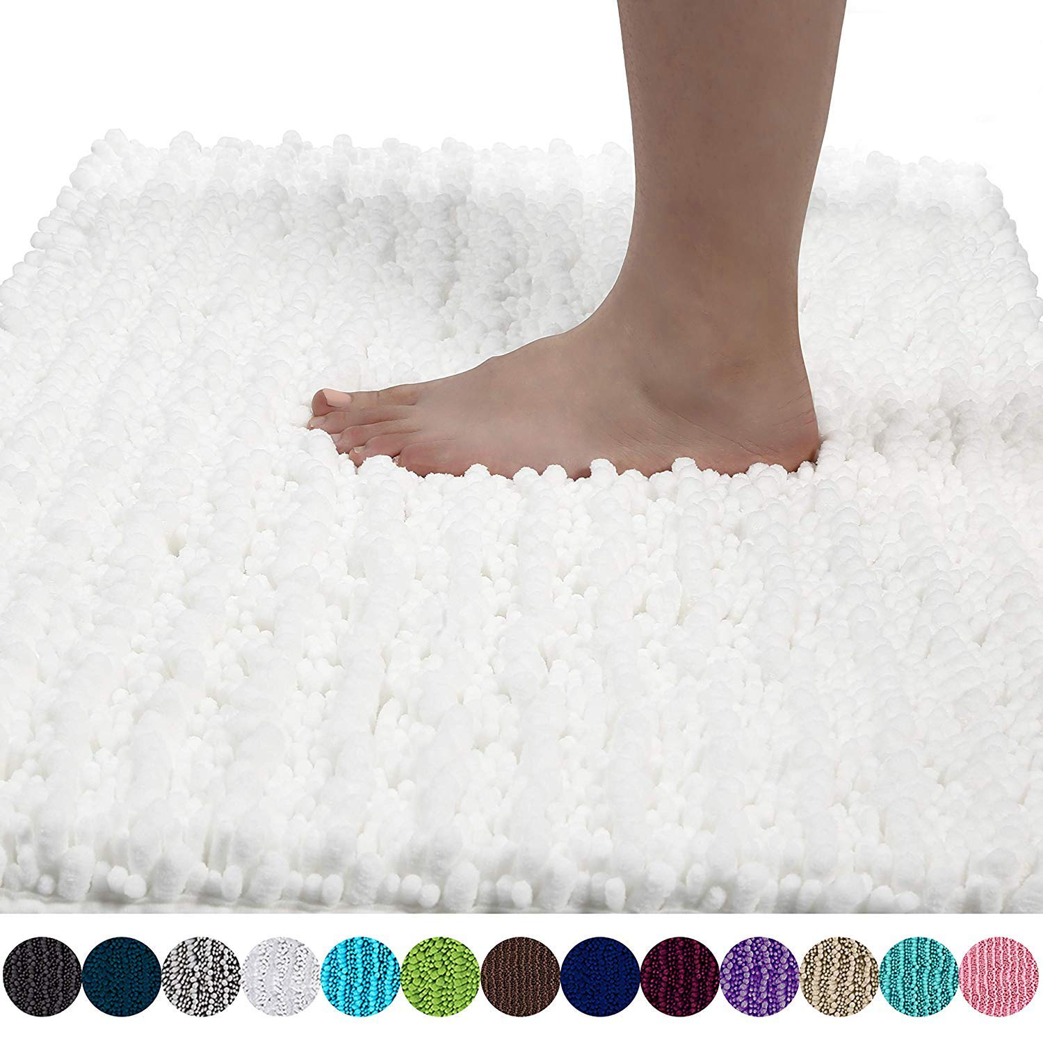 Yimobra Original Luxury Chenille Bath Mat, Soft Shaggy and Comfortable, Large Size, Super Absorbent and Thick, Non-Slip, Machine Washable, Perfect for Bathroom (31.5 X 19.8 Inches, Bright White)