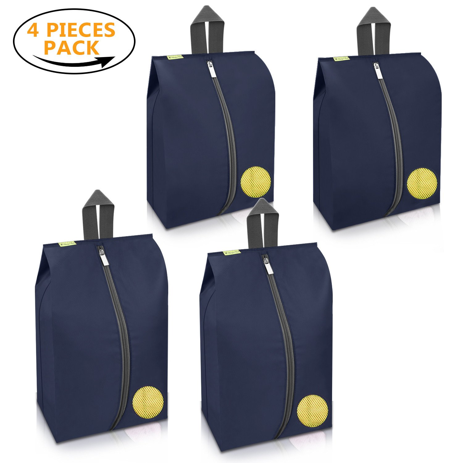 Cheaper Best Travel Shoes Bags 4 Pieces Pack Waterproof Durable Versatile Organizers Sleeves Tough Zipper with Fluorescent Mesh Reinforced See-Through Window (Navy Blue)
