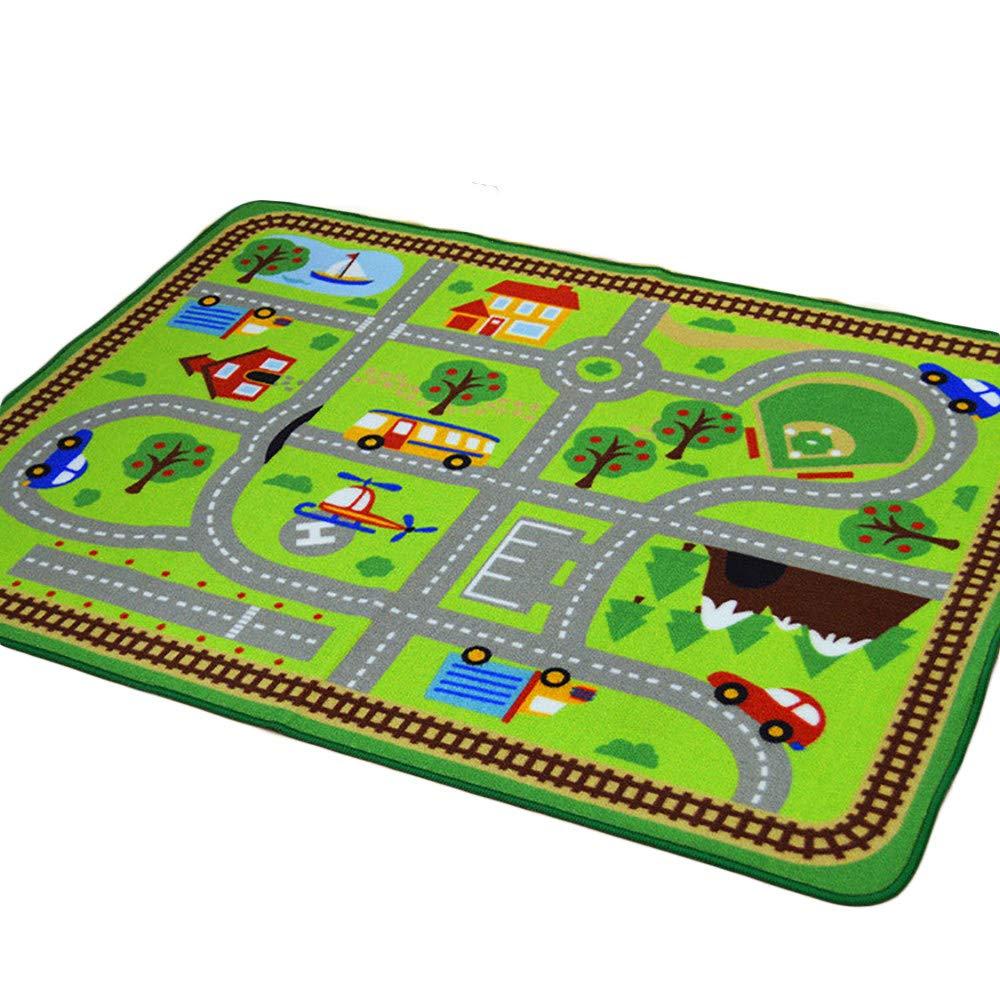ccfEncounter Vbaby Puzzle Krabbeln Gamepad, Geschmacklose GrüNe Home Decoration Verkehrsszene Muster Pad, Geeignet FüR Kindergarten, Kinderzimmer, Wohnzimmer,B A