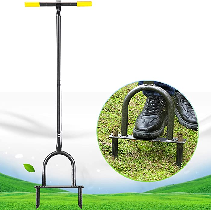 Lawn Coring Aerator, Heavy Duty Manual Grass Dethatching Turf Plug Core Aeration Tool Prevent Turf Runoff and Soil Compaction