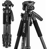 Treppiede reflex Mactrem Leggero Estensibile Lega di Alluminio 140cm Testa 3 Vie Capacità 5kg 4 Sezioni con Custodia per Canon Nikon Sony GoPro Videocamera DSLR (Nero)